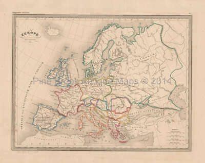 Ancient Europe Antique Map Malte Brun 1850 Original