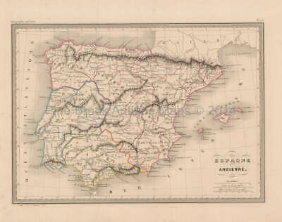 Ancient Spain Antique Map Malte Brun 1850 Original