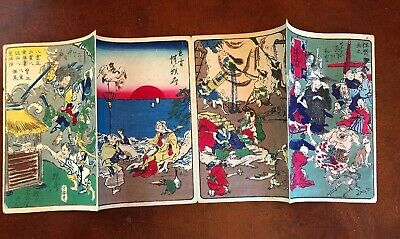 Kawanabe Kyosai Antique Woodblock Print on paper 100 Pictures 4 scenes Blue 2