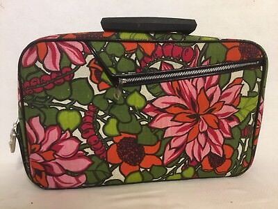 VTG Floral Tapestry Carry On Luggage Suitcase & Key Bright And Clean Over Night