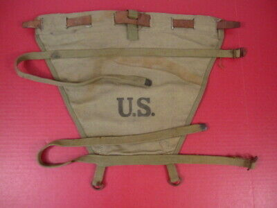 WWII US Army M1928 Haversack Canvas Pack Tail Carrier w/Leather Lacing 1942 #3
