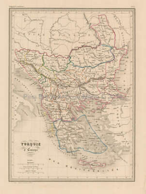 Turkey in Europe Antique Map Malte Brun 1850 Original