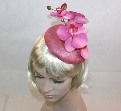 Pink Hat Pink Sinamay Hat Orchid Flower Fascinator Wedding Hat Ascot Races Hat