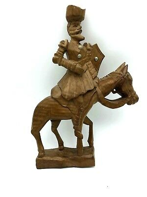 "Unique Beautifully Hand carved DON QUIXOTE Wood SCULPTURE 14"" tall"