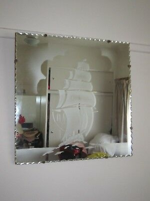Vintage Art Deco Collectable Large Pie Crust Edged Mirror With Ship Scene