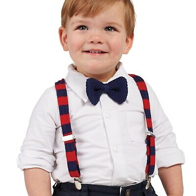 211fdf060 Boy's Red & Blue Sweater Knit Suspender and Bow Tie Set by Mud Pie (One