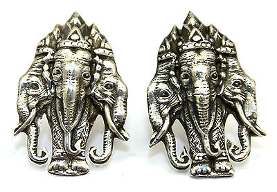 ORNATE Vintage 1950s SIAM Modernist Sterling Silver THREE ELEPHANTS Cufflinks