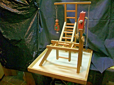 Table Top Parrot Play Gym Pet Bird Perch Stand Ladder Climbing Exercise Playland