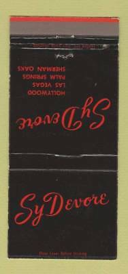 Matchbook Cover - Sy Devore Hollywood Palm Springs CA Las Vegas NV 30 Strike