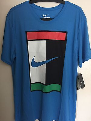 441989fc6d43 NEW NIKE COURT Blue OZ Court Logo T-Shirt Men s Tennis 739479-435 Size