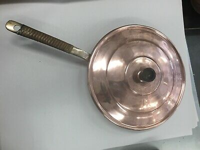 Antique Vintage Copper Brass Lidded Frying Pan Serving Dish Huge Large