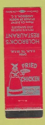 Matchbook Cover Holbrook's Restaurant Anderson SC Fried Chicken Black Americana