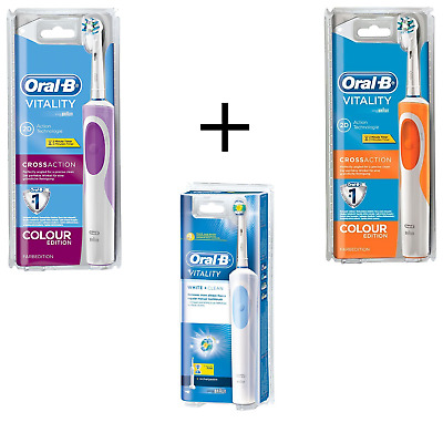 Braun Oral-B Vitality Crossaction Purple & Orange Toothbrush with 3 Oral-B Heads