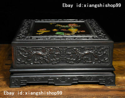 "10"" Old Chinese Rosewood Wood Inlay Jade Gem Carved Dragon Auspicious design Box"