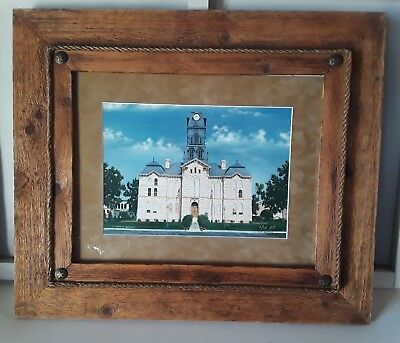 Texas Rustic Chic Vintage Heavy Wood Picture Frame w/ photo Western Ranch Style