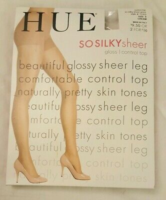 c30ce8f2741 HUE RUN RESISTANCE Sheer Control Top Pantyhose Size 3 Natural ...