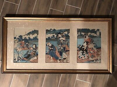 ANTIQUE JAPANESE WOODBLOCK PRINT - Triptych Traveling by Water -Gorgeous!