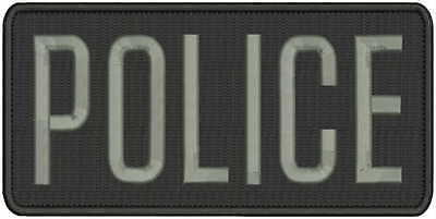 POLICE Embroidery patch 2x11 hook on back background  blk//gray