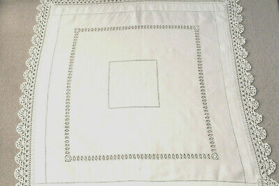 Vintage white linen tablecloth with crochet edges and ladder work.