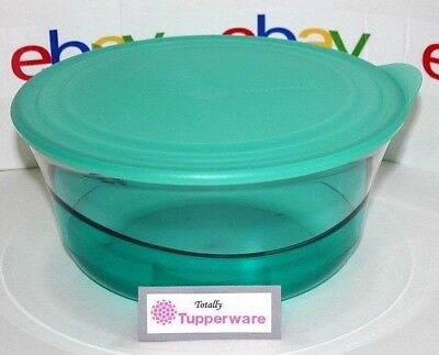 Tupperware Bowl Sheerly Elegant 9.5 Cups Teal Blue Acrylic Serving Container