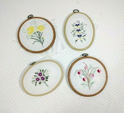 Lot Of 4 Embroidery Hoops Floral Completed Art Plastic Hoops