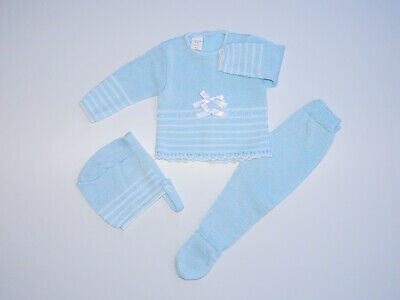 Baby Knit Set Blue & White. Size 3 Months. Made in Spain.