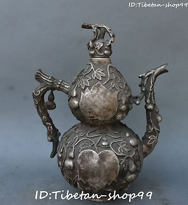 "11"" Chinese Old Silver Gourd Cucurbit Calabash Wine Tea Pot Flagon Kettle Statue"