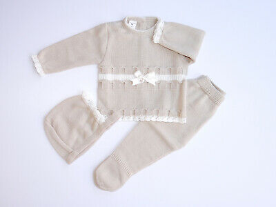 Baby Knit Set Golden Beige. Size 6 Months. Made in Spain.