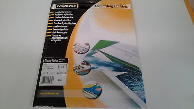 FELLOWES 53962 Clear Laminating Pouches A4 HIGH GLOSSY 80 micron  25/Pk   52D050
