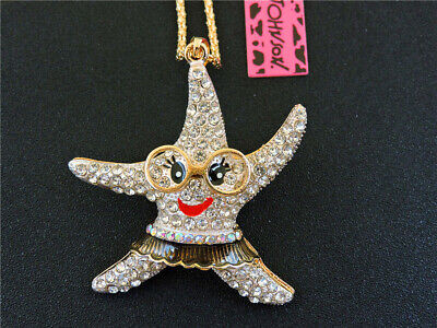 Betsey Johnson STARFISH Crystal pendant Long necklace Sweater chain-BJ1901