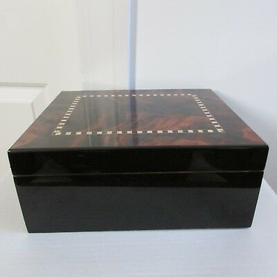 """Lacquered Humidor Cigar Box, No Markings, Brass Hinges 10 1/4"""" Wide, 8 3/4"""" deep"""
