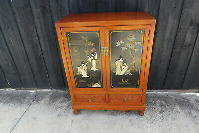 Vintgae Chinese Jade Mother Of Pearl  Cabinet
