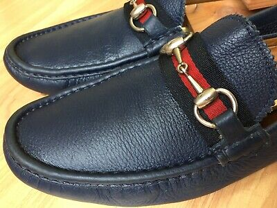 fc3d305a049 GUCCI MEN S BLACK Leather GG Guccissima Driving Loafers Shoes Size ...