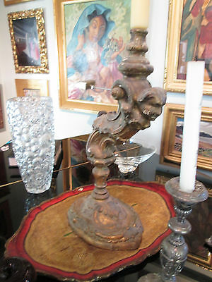 Rare 18th Century Carved and Guilded Italian Candlestick
