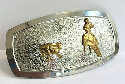 Justin Belt Buckle Rodeo Cowboy Two Tone Silver Gold Horse Bull Textured Oblong