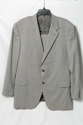 Hickey Freeman Addison Gray Houndstooth Puppytooth 100% Wool Suit 46R