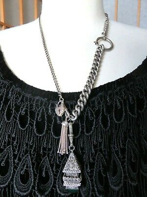 OOAK Sterling Silver ANTIQUE WATCH CHAIN NECKLACE w ETRUSCAN POISON FOB + TASSEL