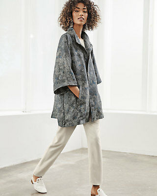 New Eileen Fisher Ash  Cosmos Jacquard Stand High Collar Boxy- Jacket M $598