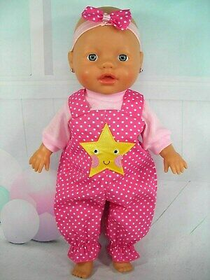 Dolls clothes for 32cm Baby Born/Baby Alive Doll~YELLOW STAR~ PINK SPOT OVERALL