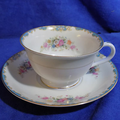 Vintage Noritake China Occupied Japan Floral Footed Cup And Saucer - Euc