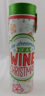 Celebrate It Christmas Wine Gift Box Tube New I'm Dreaming of a Wine Christmas
