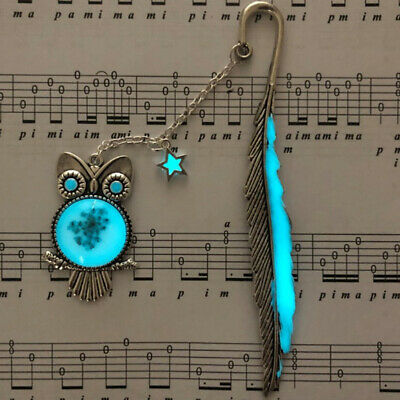1X Luminous Night Owl Bookmark Label Read Maker Feather Book Mark Stationery s/