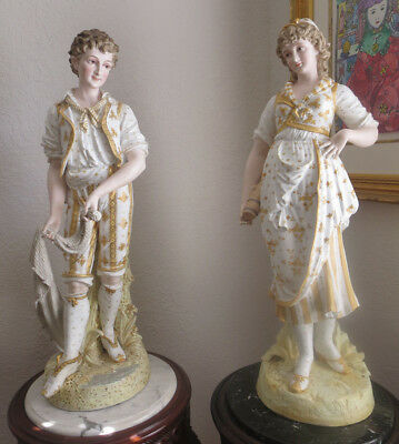 "36"" Antique French Pair Of Porcelain Bisque Couple Museum Quality Pieces"