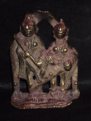 Antique Traditional Indian Ritual  Bronze statue Shiva And Parvati Tribal #3