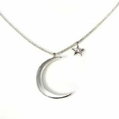Solid Silver Moon & Star Love Necklace Solid 925 Silver Gift Wrapped