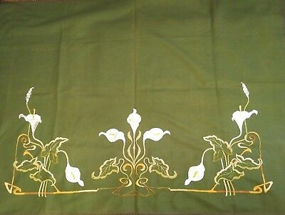 Pair of Large Fabulous Antique French Art Nouveau Wool  Embroideries C.1900