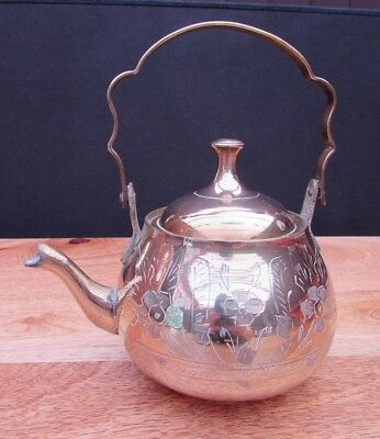 Vintage Brass Teapot Kettle With Hinged Handle - Tea For One - Bargain Price