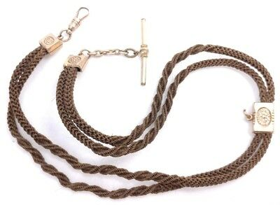 Antique Victorian Locket Fob Woven Braided Hair Gold Filled Mourning Necklace