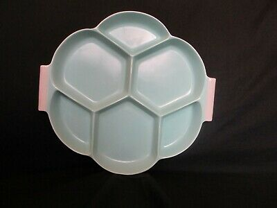 Poole Pottery, Twintone, Ice Green & Seagull, Hors D Oeuvres 6 segment Plate
