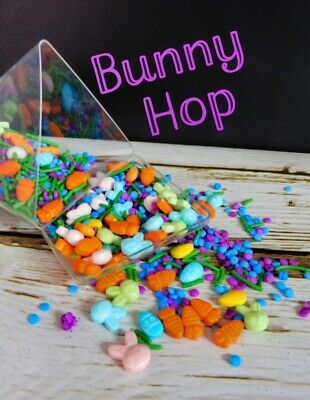 Bunny Hop Mix 4 Easter Pink Blue Green Gold Egg Cupcake Sprinkles Decorations